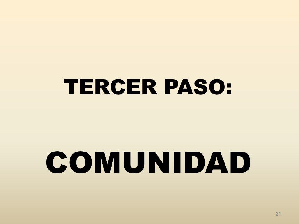 TERCER PASO: COMUNIDAD