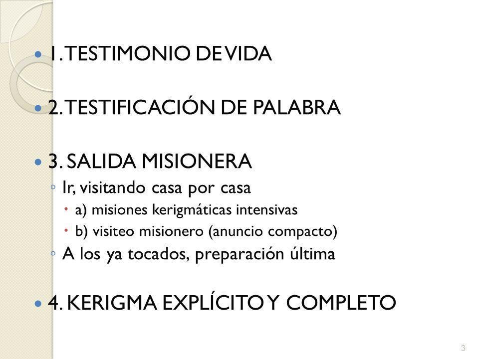 2. TESTIFICACIÓN DE PALABRA 3. SALIDA MISIONERA