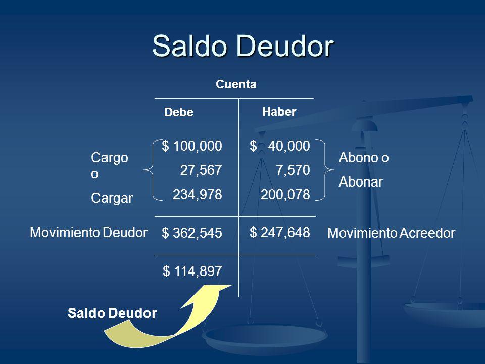 Saldo Deudor $ 100,000 27,567 234,978 Cargo o Cargar $ 40,000 7,570