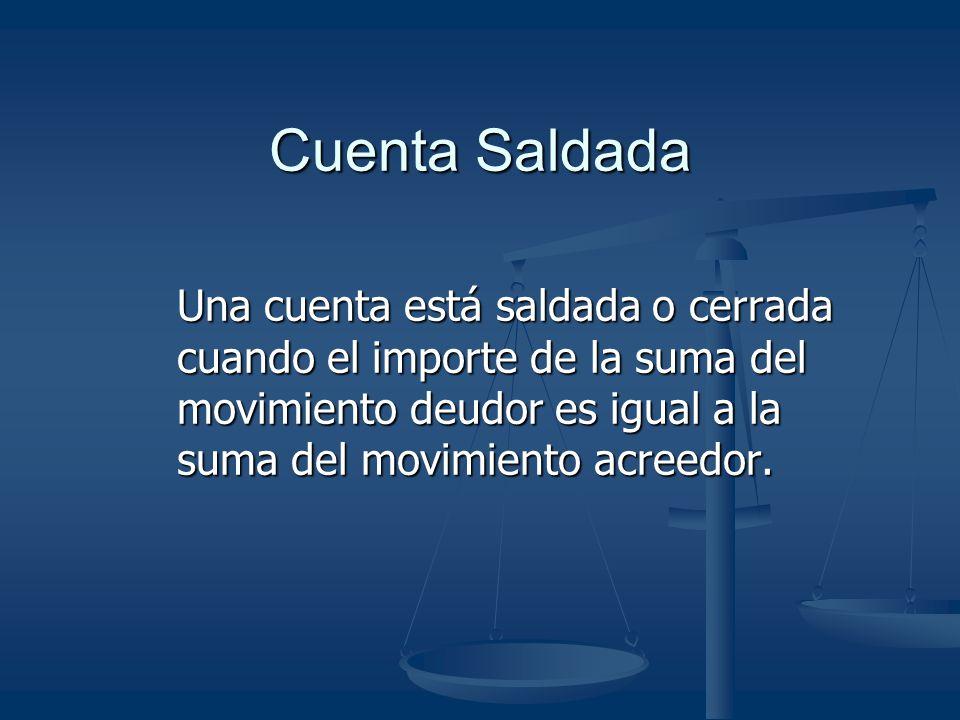 Cuenta Saldada Una cuenta está saldada o cerrada cuando el importe de la suma del movimiento deudor es igual a la suma del movimiento acreedor.