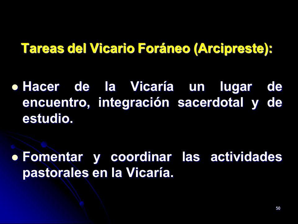 Tareas del Vicario Foráneo (Arcipreste):