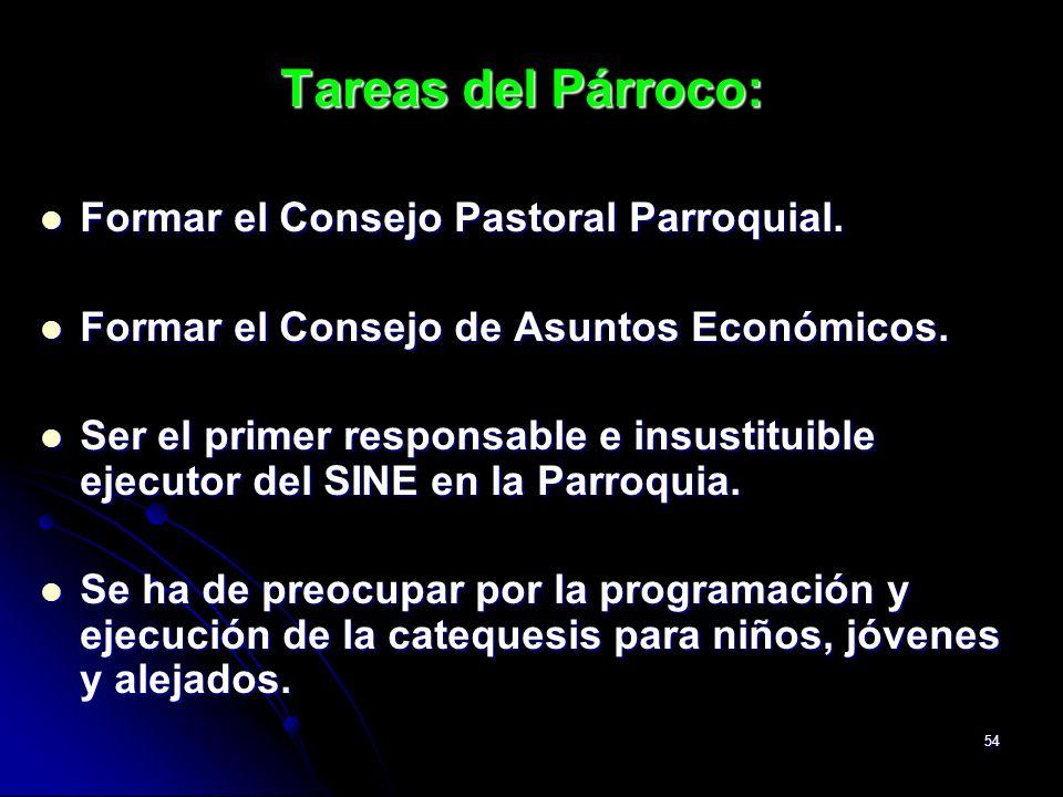 Tareas del Párroco: Formar el Consejo Pastoral Parroquial.