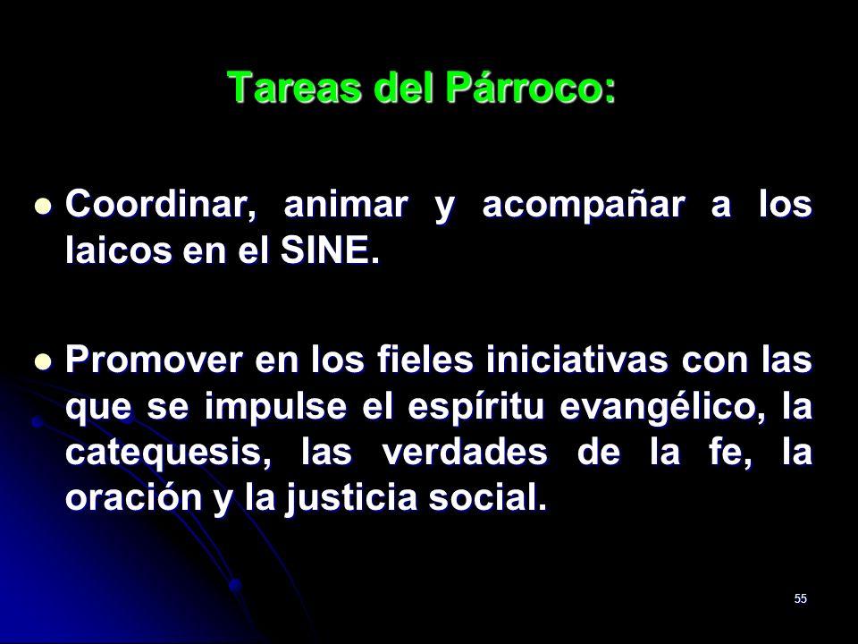 Tareas del Párroco:Coordinar, animar y acompañar a los laicos en el SINE.