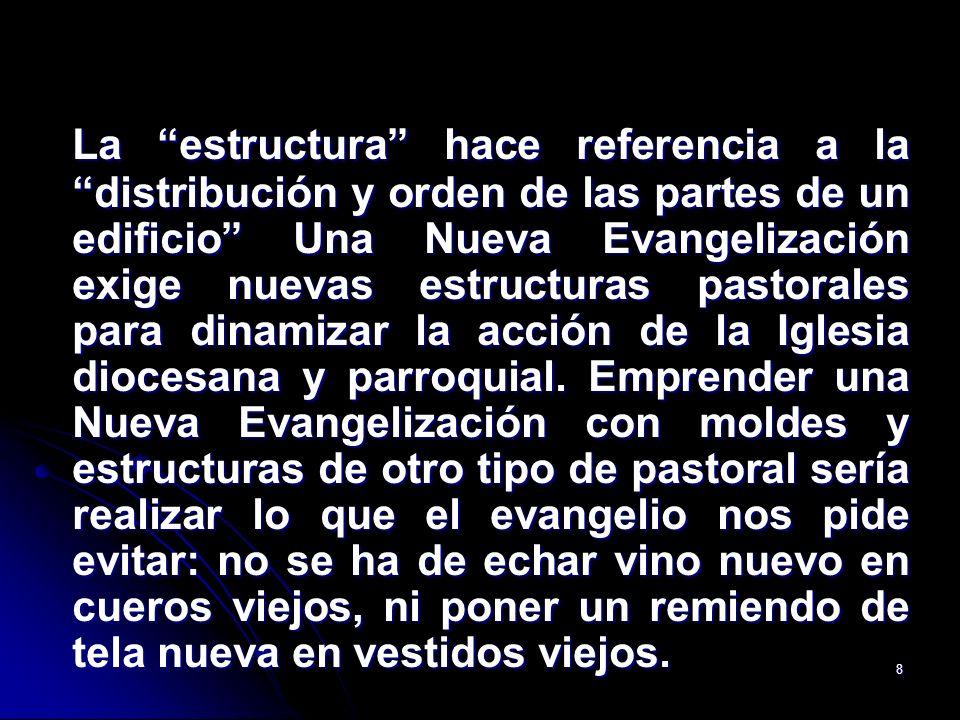 La estructura hace referencia a la distribución y orden de las partes de un edificio Una Nueva Evangelización exige nuevas estructuras pastorales para dinamizar la acción de la Iglesia diocesana y parroquial.