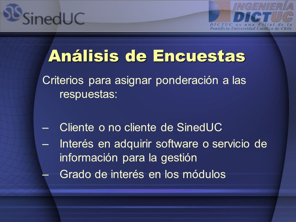 Análisis de Encuestas Criterios para asignar ponderación a las respuestas: Cliente o no cliente de SinedUC.