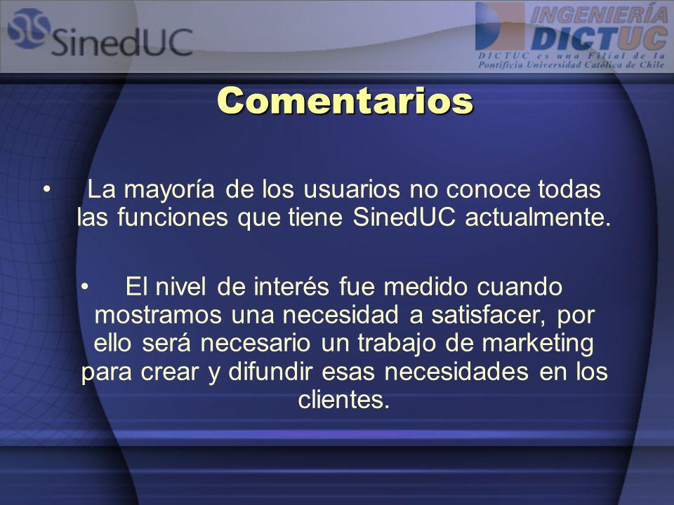 Comentarios La mayoría de los usuarios no conoce todas las funciones que tiene SinedUC actualmente.