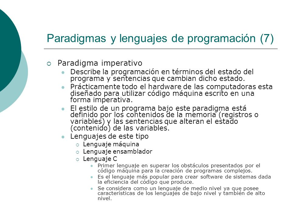 Paradigmas y lenguajes de programación (7)
