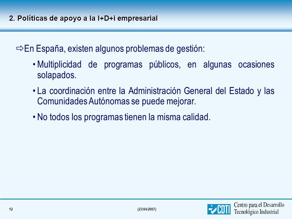 En España, existen algunos problemas de gestión: