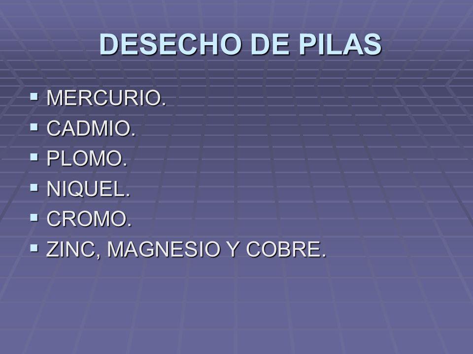 DESECHO DE PILAS MERCURIO. CADMIO. PLOMO. NIQUEL. CROMO.