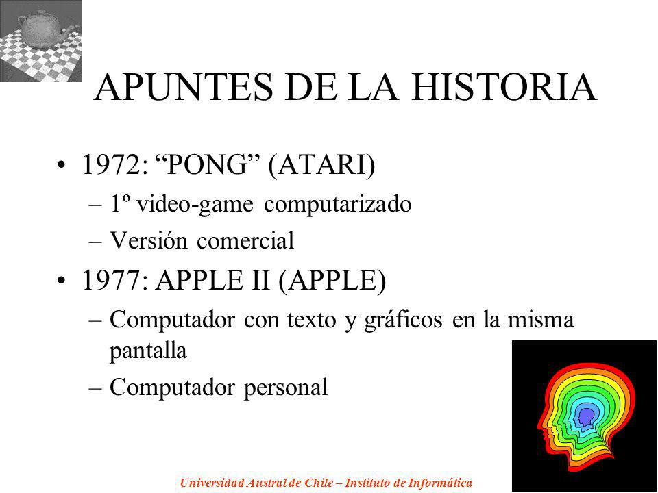 APUNTES DE LA HISTORIA 1972: PONG (ATARI) 1977: APPLE II (APPLE)