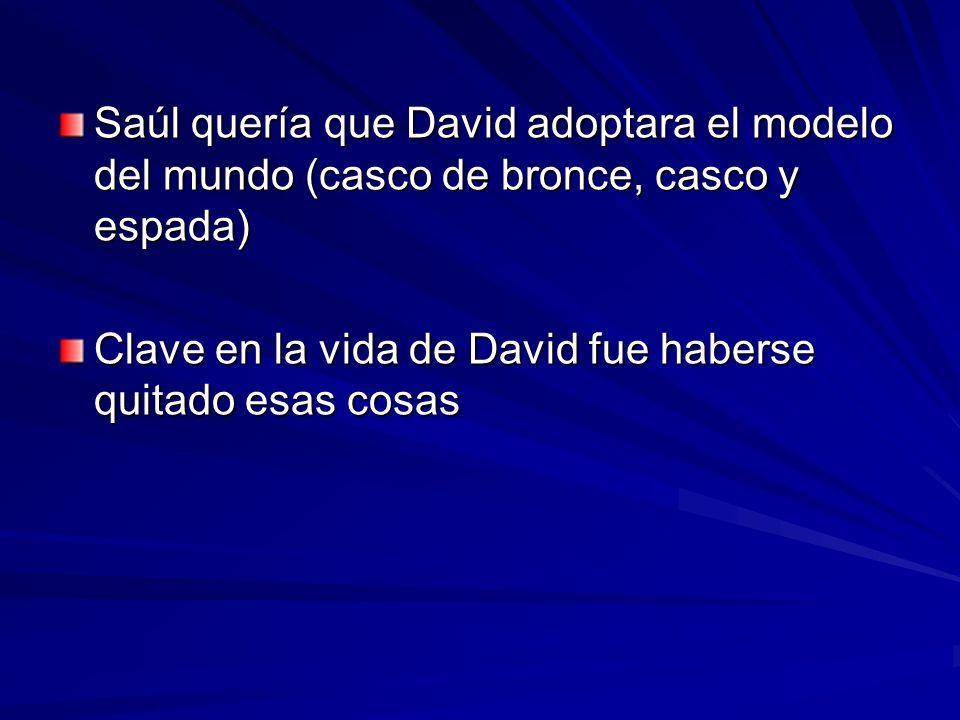 Saúl quería que David adoptara el modelo del mundo (casco de bronce, casco y espada)