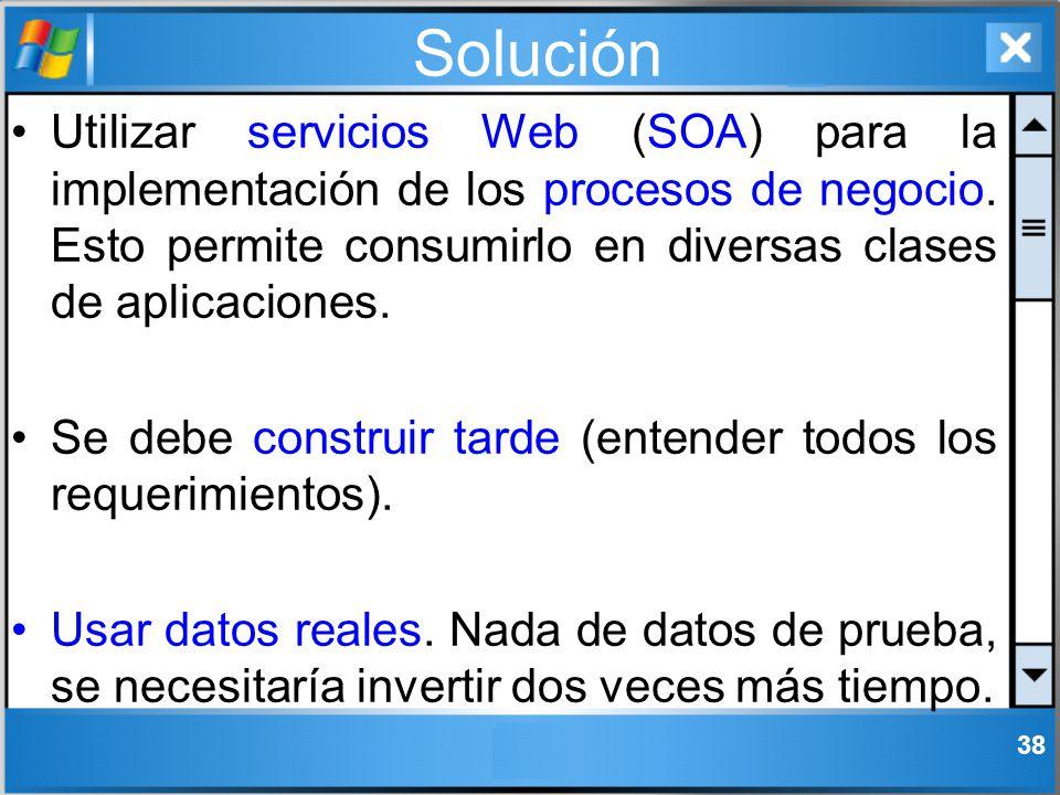 Solución Utilizar servicios Web (SOA) para la implementación de los procesos de negocio. Esto permite consumirlo en diversas clases de aplicaciones.