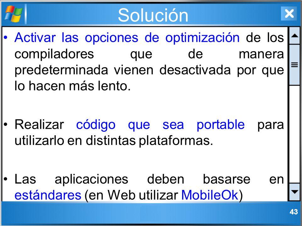 Solución Activar las opciones de optimización de los compiladores que de manera predeterminada vienen desactivada por que lo hacen más lento.