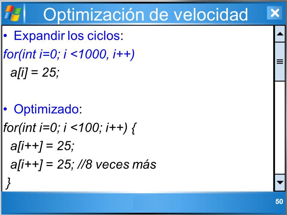 Optimización de velocidad