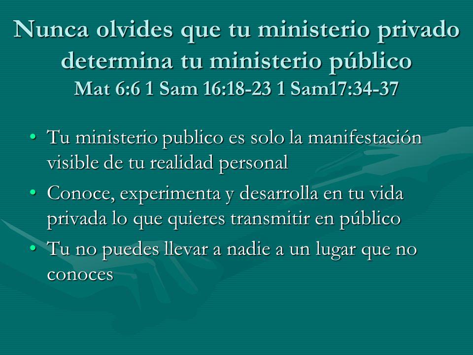 Nunca olvides que tu ministerio privado determina tu ministerio público Mat 6:6 1 Sam 16:18-23 1 Sam17:34-37