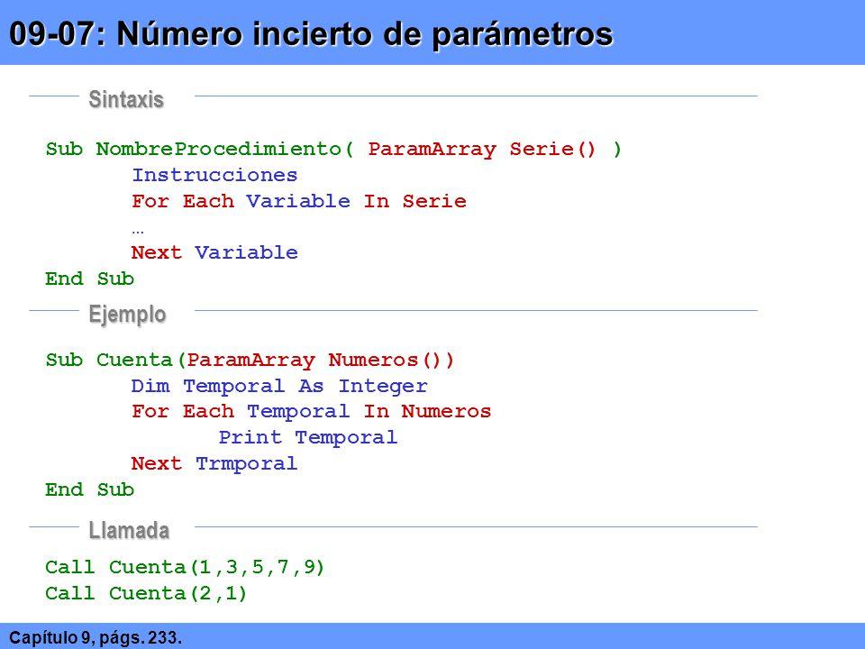 09-07: Número incierto de parámetros