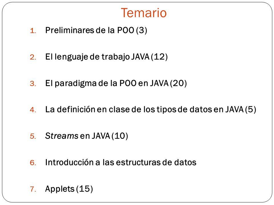 Temario Preliminares de la POO (3) El lenguaje de trabajo JAVA (12)