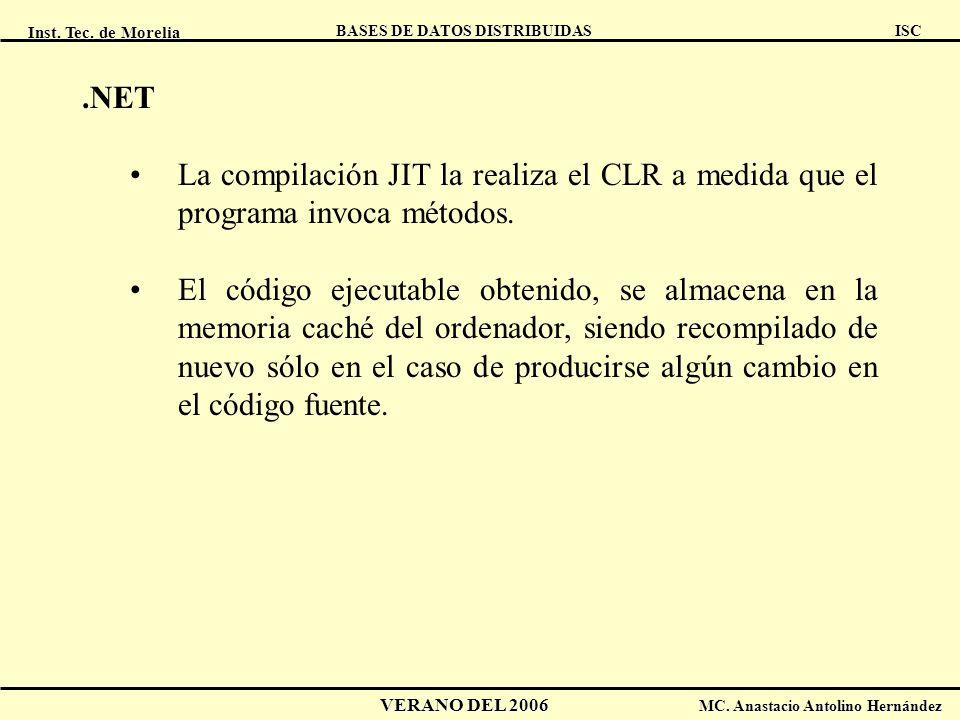 .NET La compilación JIT la realiza el CLR a medida que el programa invoca métodos.
