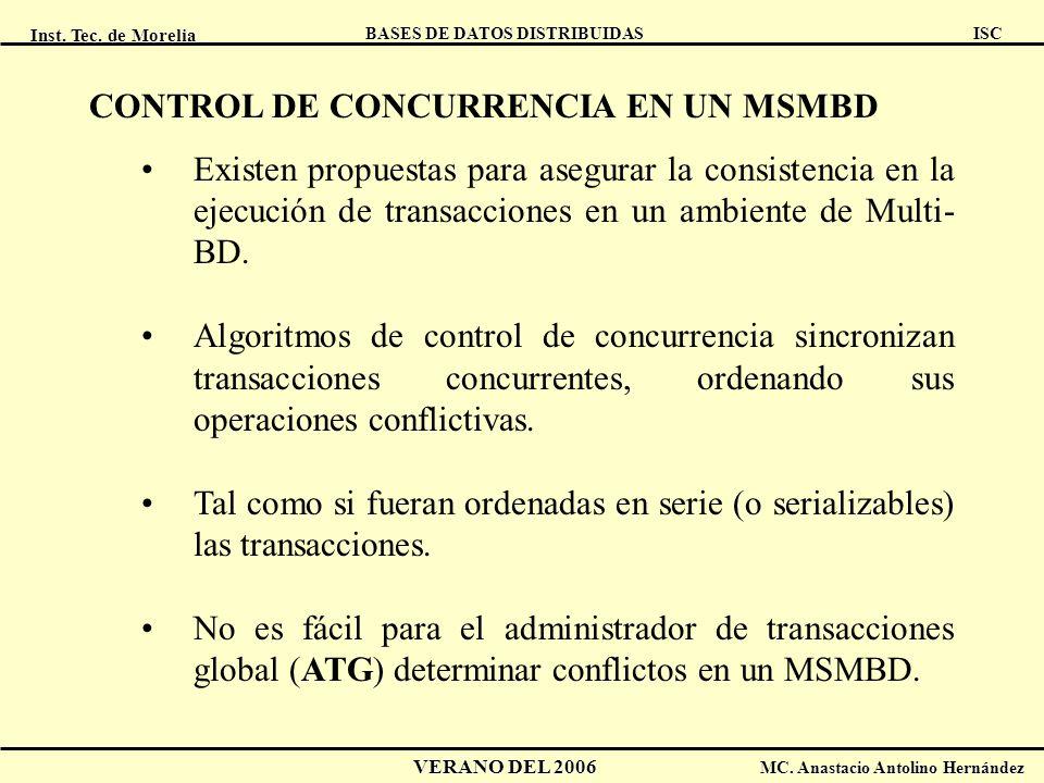 CONTROL DE CONCURRENCIA EN UN MSMBD