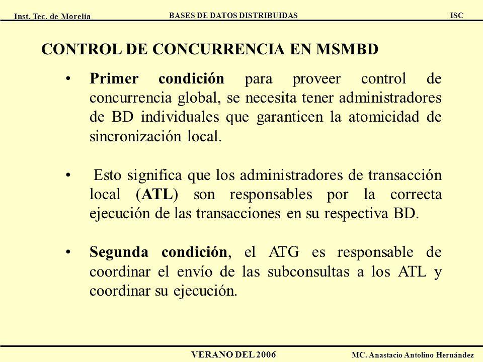 CONTROL DE CONCURRENCIA EN MSMBD