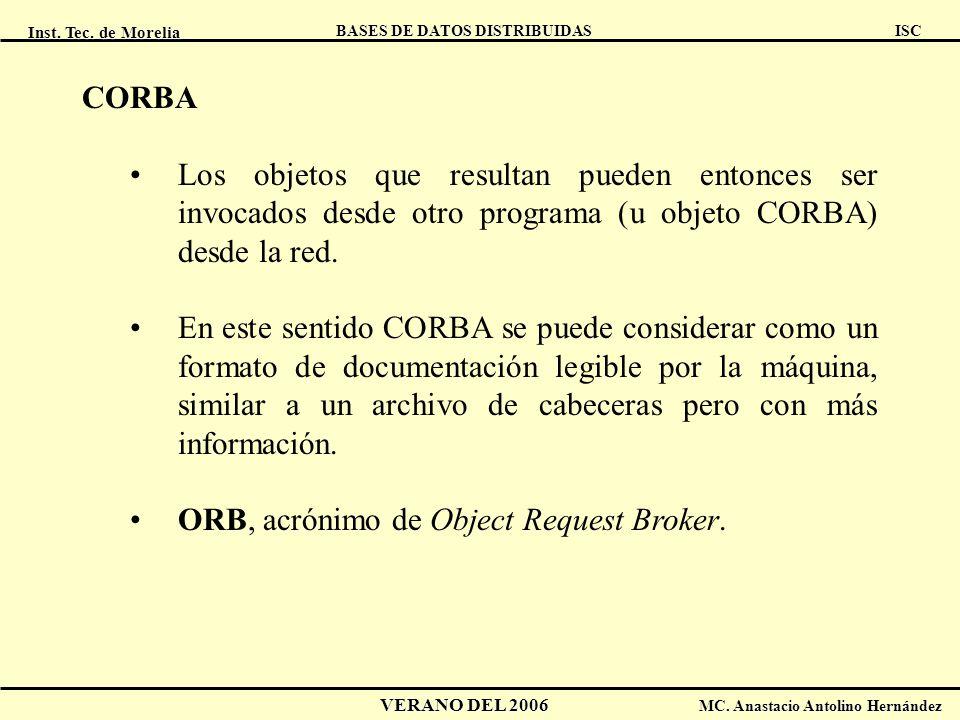 CORBA Los objetos que resultan pueden entonces ser invocados desde otro programa (u objeto CORBA) desde la red.