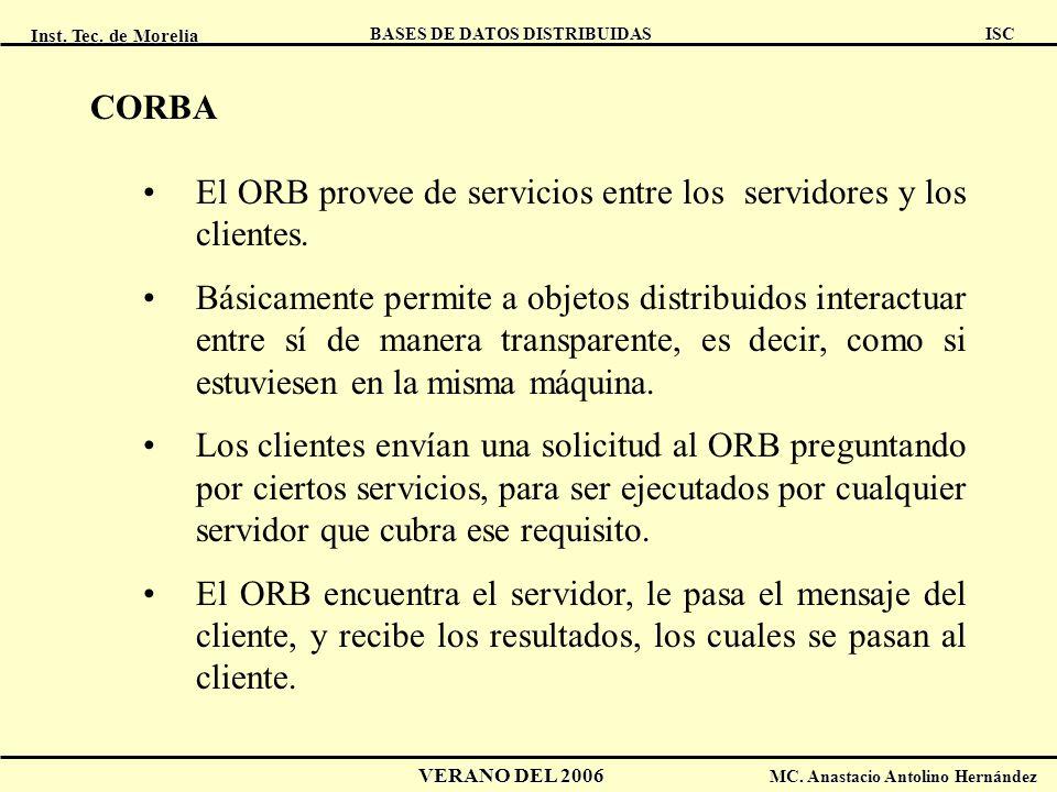 CORBA El ORB provee de servicios entre los servidores y los clientes.