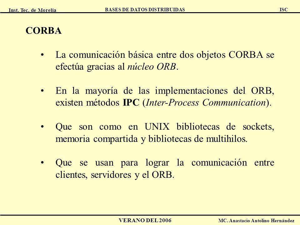 CORBA La comunicación básica entre dos objetos CORBA se efectúa gracias al núcleo ORB.