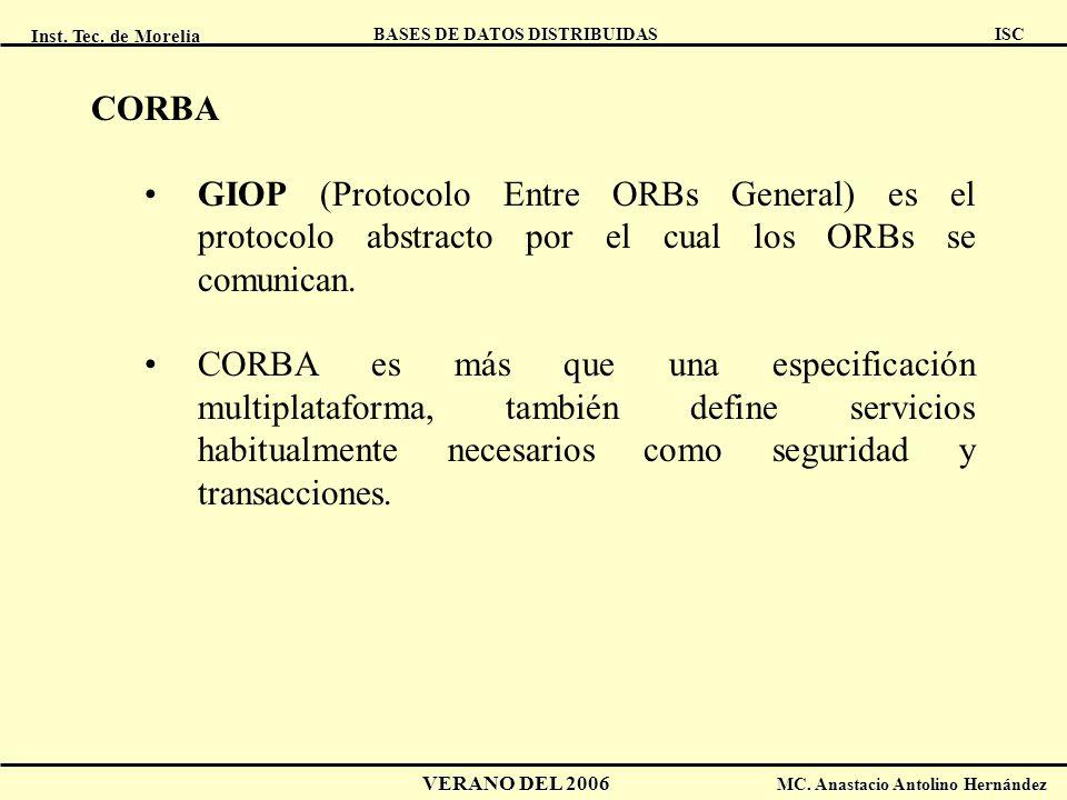CORBA GIOP (Protocolo Entre ORBs General) es el protocolo abstracto por el cual los ORBs se comunican.
