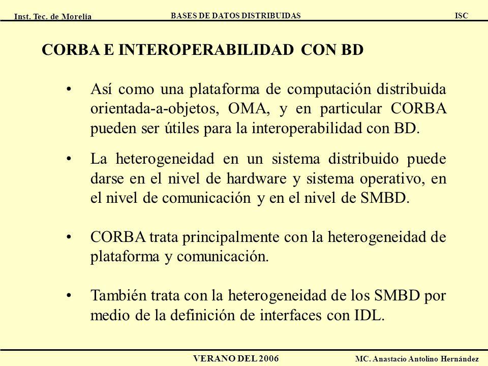 CORBA E INTEROPERABILIDAD CON BD