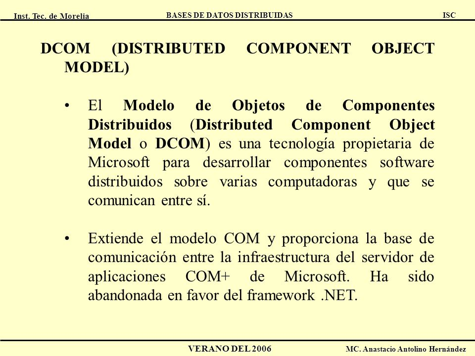 DCOM (DISTRIBUTED COMPONENT OBJECT MODEL)