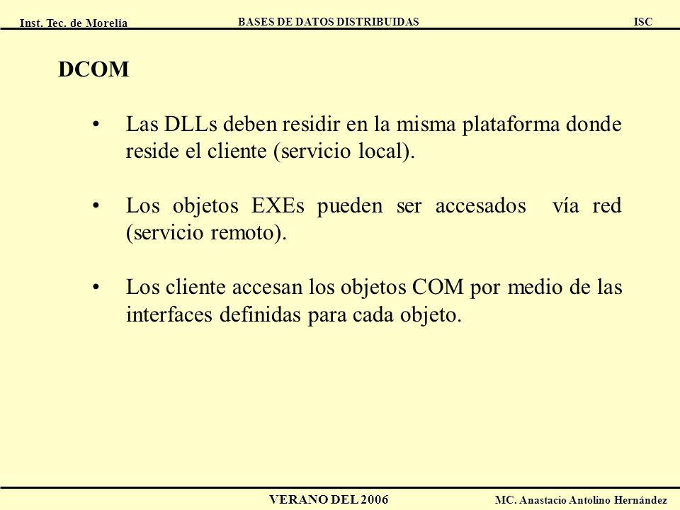 DCOM Las DLLs deben residir en la misma plataforma donde reside el cliente (servicio local).