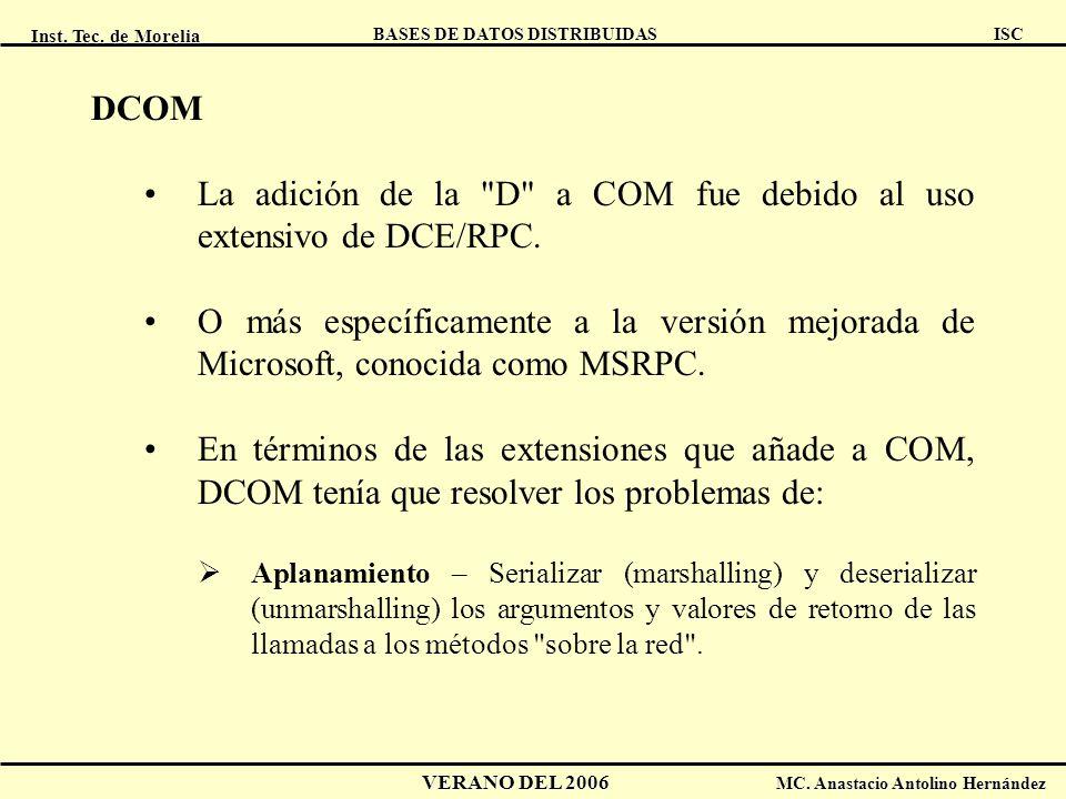 La adición de la D a COM fue debido al uso extensivo de DCE/RPC.