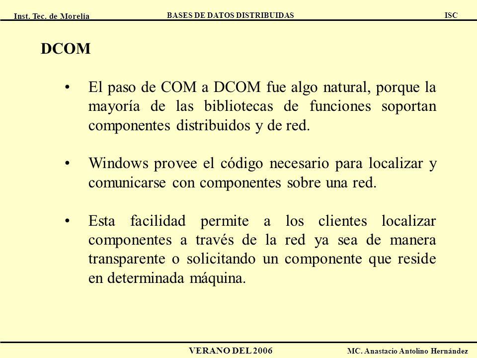 DCOM El paso de COM a DCOM fue algo natural, porque la mayoría de las bibliotecas de funciones soportan componentes distribuidos y de red.