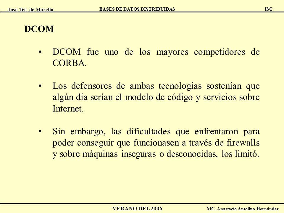 DCOM DCOM fue uno de los mayores competidores de CORBA.