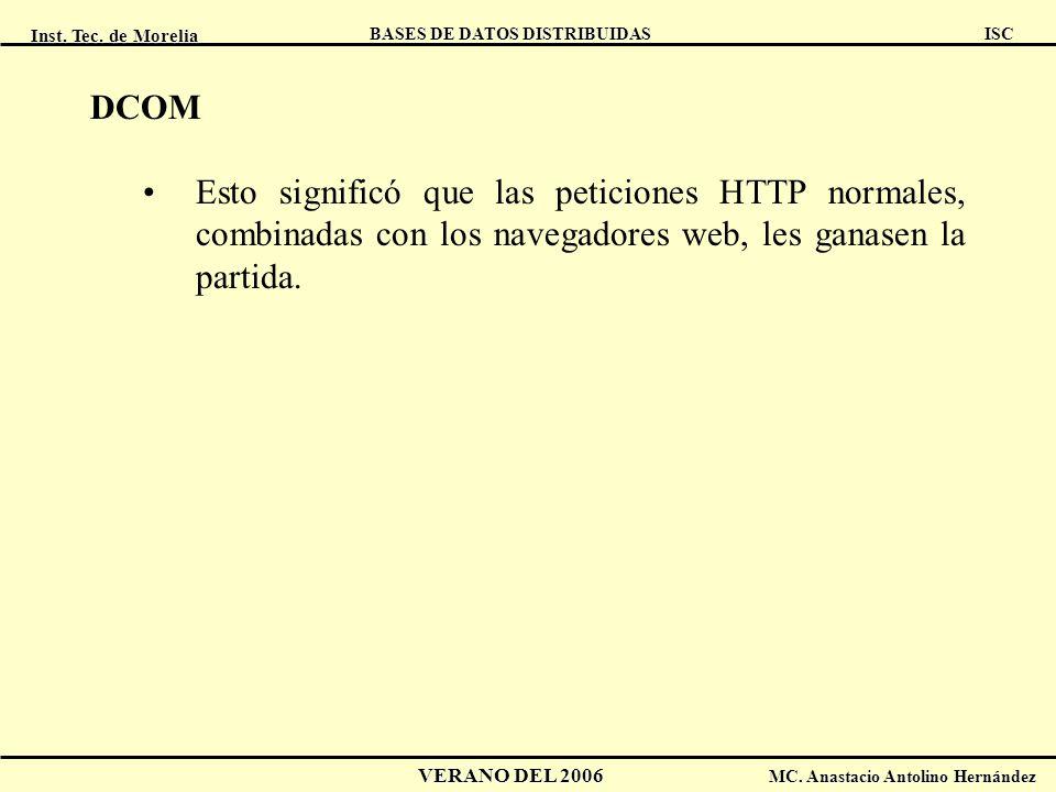 DCOM Esto significó que las peticiones HTTP normales, combinadas con los navegadores web, les ganasen la partida.