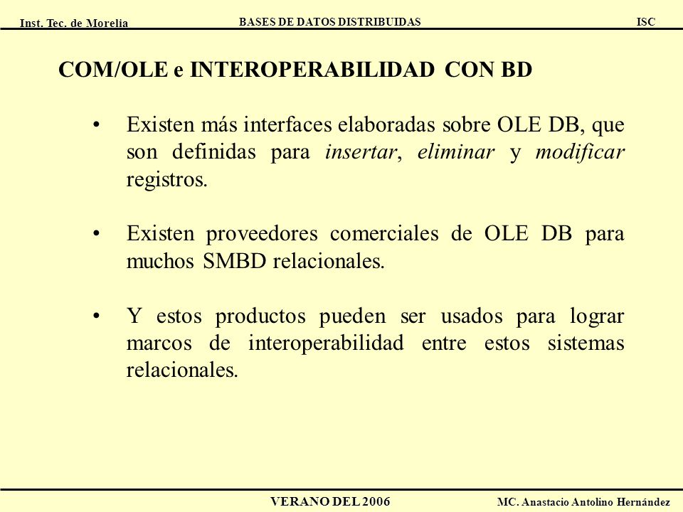 COM/OLE e INTEROPERABILIDAD CON BD