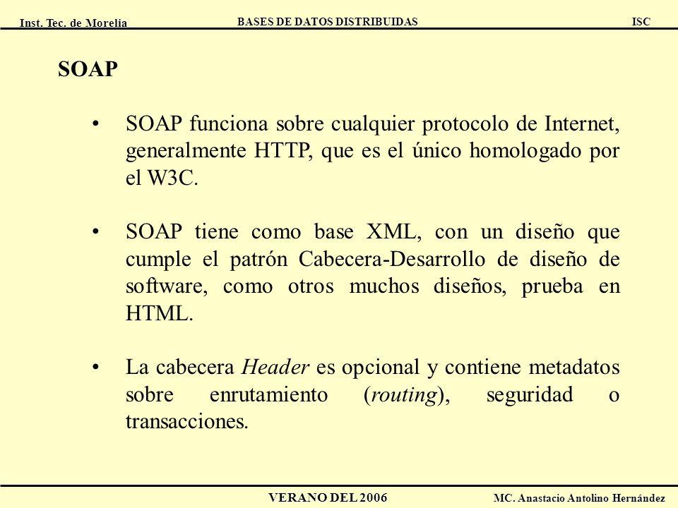 SOAP SOAP funciona sobre cualquier protocolo de Internet, generalmente HTTP, que es el único homologado por el W3C.