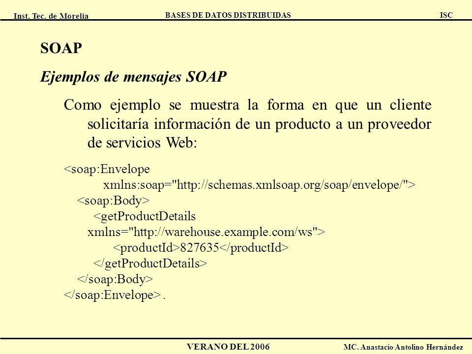 Ejemplos de mensajes SOAP