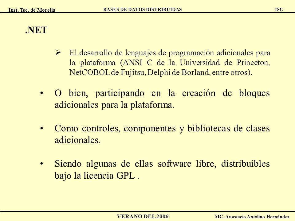 Como controles, componentes y bibliotecas de clases adicionales.