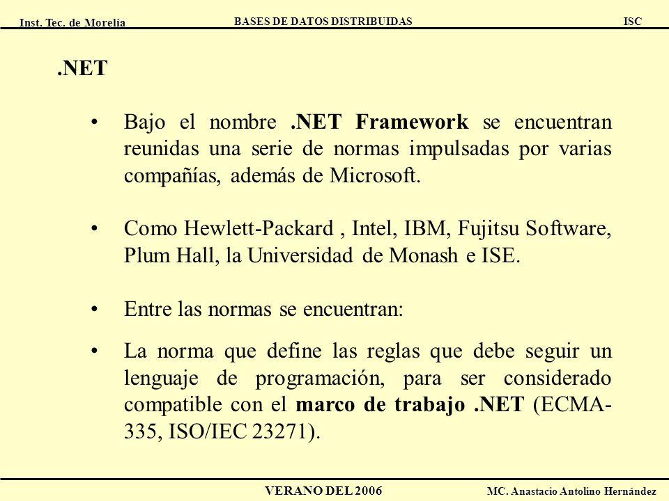 .NET Bajo el nombre .NET Framework se encuentran reunidas una serie de normas impulsadas por varias compañías, además de Microsoft.