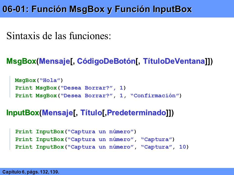 06-01: Función MsgBox y Función InputBox