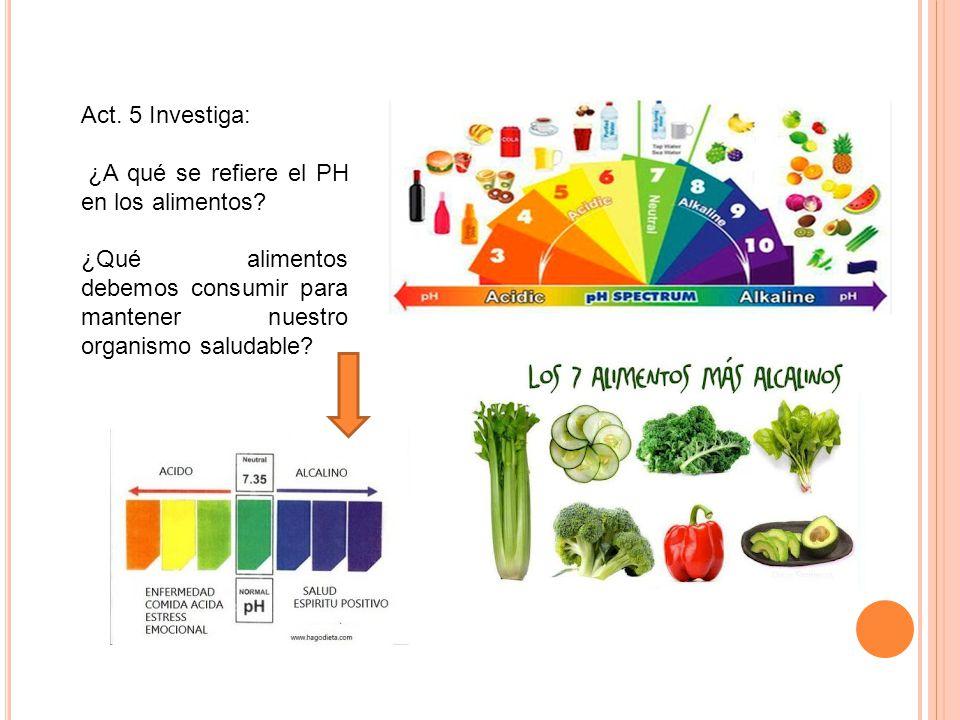 Act. 5 Investiga: ¿A qué se refiere el PH en los alimentos.