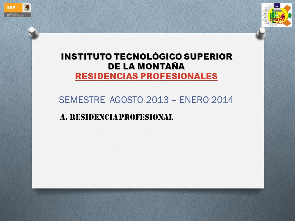 INSTITUTO TECNOLÓGICO SUPERIOR DE LA MONTAÑA RESIDENCIAS PROFESIONALES