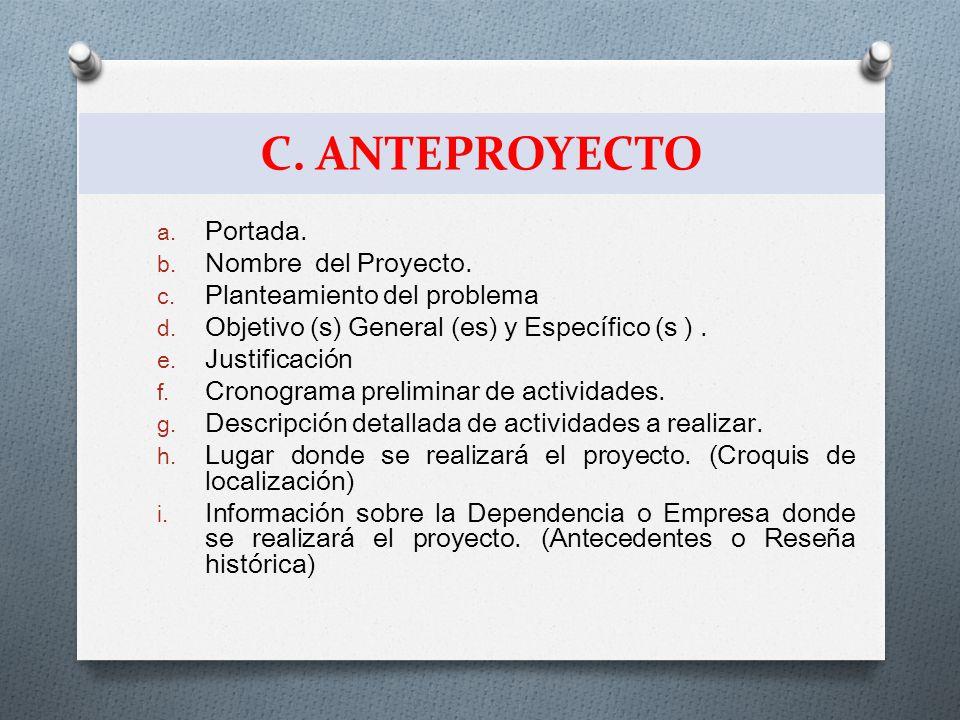 C. ANTEPROYECTO Portada. Nombre del Proyecto.