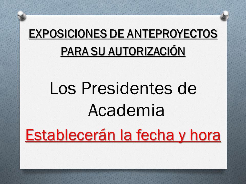 EXPOSICIONES DE ANTEPROYECTOS