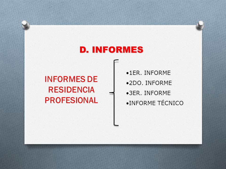 INFORMES DE RESIDENCIA PROFESIONAL