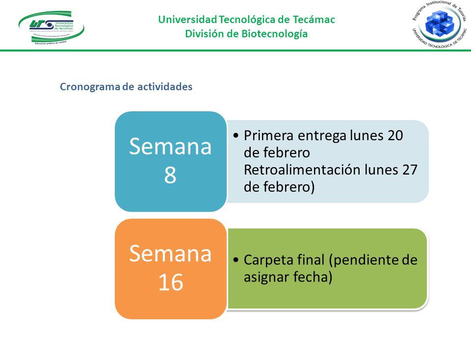 Universidad Tecnológica de Tecámac División de Biotecnología