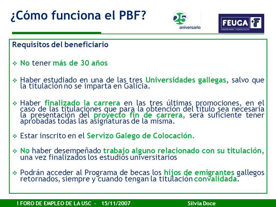 ¿Cómo funciona el PBF Requisitos del beneficiario