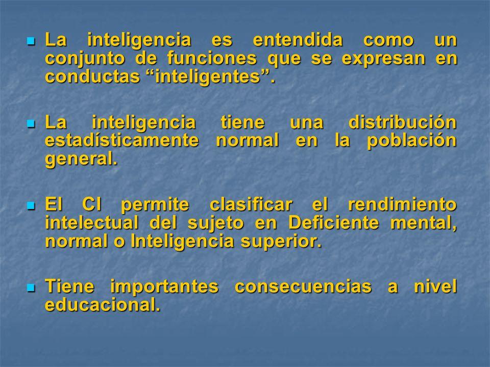 La inteligencia es entendida como un conjunto de funciones que se expresan en conductas inteligentes .