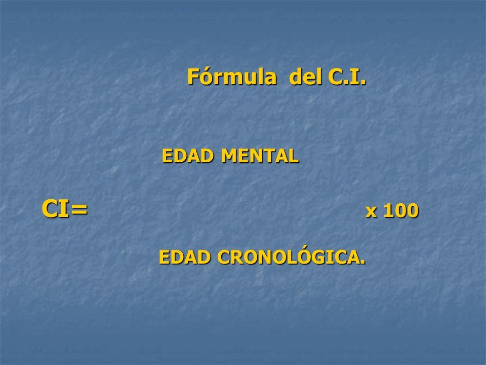 Fórmula del C.I. EDAD MENTAL CI= x 100 EDAD CRONOLÓGICA.